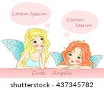 cute angel girls are sitting... | Shutterstock .eps vector #437345782