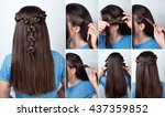 simple twisted hairstyle with... | Shutterstock . vector #437359852