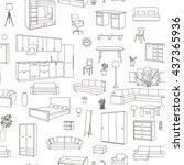 furniture hand drawn seamless... | Shutterstock .eps vector #437365936