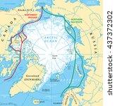 arctic ocean sea routes map... | Shutterstock .eps vector #437372302
