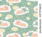 baby theme seamless pattern | Shutterstock .eps vector #437376622