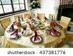 round table covered with golden ... | Shutterstock . vector #437381776