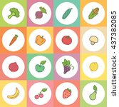 set colorful icons with fruits... | Shutterstock .eps vector #437382085