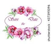 watercolor flowers peony... | Shutterstock . vector #437395096