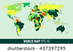 high detail world map. vector... | Shutterstock .eps vector #437397295