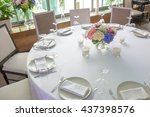 round white dinner table... | Shutterstock . vector #437398576