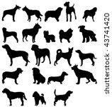 Stock vector dogs silhouettes 43741420