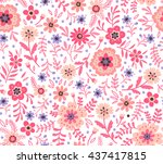 Cute pattern in small flower. Small pink flowers. White background. Ditsy floral background. The elegant the template for fashion prints.