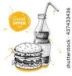 vintage fast food special offer.... | Shutterstock . vector #437433436