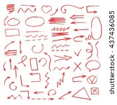 set of hand drawn arrow. vector ... | Shutterstock .eps vector #437436085