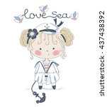 girl sailor hand drawn vector... | Shutterstock .eps vector #437438392