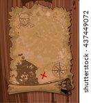 illustration of pirate scroll... | Shutterstock .eps vector #437449072