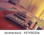 electric guitar old wooden... | Shutterstock . vector #437450206