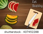fresh fruits slices on the... | Shutterstock .eps vector #437452288