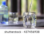 closeup glass of water on table ... | Shutterstock . vector #437456938