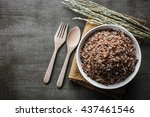 Brown Coarse Rice With Wooden...
