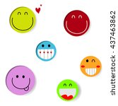 the set of smile emotion icon... | Shutterstock .eps vector #437463862