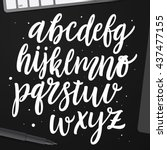 vector cursive alphabet in the... | Shutterstock .eps vector #437477155