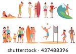 people and couples on vacation... | Shutterstock .eps vector #437488396
