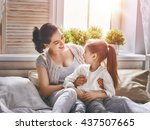 happy loving family. mother and ... | Shutterstock . vector #437507665