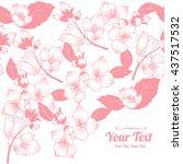 vector jasmine flowers frame... | Shutterstock .eps vector #437517532