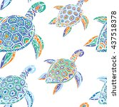 seamless pattern of blue turtles | Shutterstock .eps vector #437518378