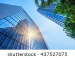 modern office building with... | Shutterstock . vector #437527075