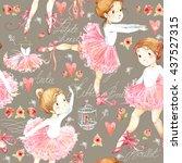 Ballerina. Seamless Pattern...