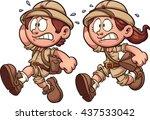 scared safari kids. vector clip ... | Shutterstock .eps vector #437533042