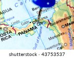 Map Of Panama With A Blue Tag...