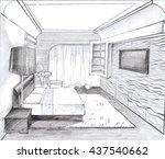 interior sketch design of ... | Shutterstock . vector #437540662
