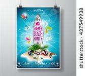 vector summer beach party flyer ... | Shutterstock .eps vector #437549938