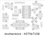 office furniture top view  | Shutterstock .eps vector #437567158