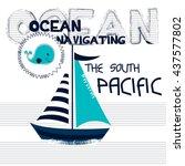 Sailboat Cartoon On Striped...