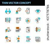 set of 16 thin line vector... | Shutterstock .eps vector #437578786