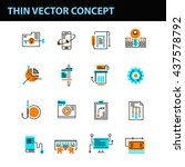 set of 16 thin line vector... | Shutterstock .eps vector #437578792