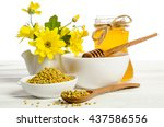 the jar of honey near two bowls ... | Shutterstock . vector #437586556