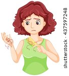 hair falling out from woman... | Shutterstock .eps vector #437597248
