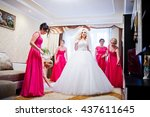 pretty blonde bride with four... | Shutterstock . vector #437611645