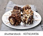 frozen banana covered with...   Shutterstock . vector #437614456