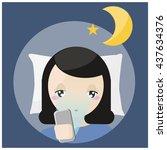 using phone before bedtime | Shutterstock .eps vector #437634376