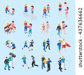 friends isometric icons set... | Shutterstock .eps vector #437636662