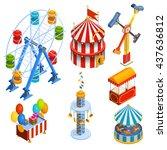 amusement park isometric... | Shutterstock .eps vector #437636812
