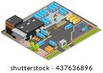 road cargo transportation... | Shutterstock .eps vector #437636896