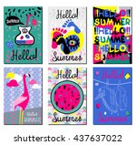 set summer cards. color...   Shutterstock .eps vector #437637022