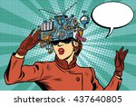 virtual reality glasses retro... | Shutterstock .eps vector #437640805