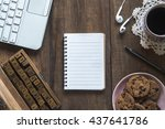 top view of work space on... | Shutterstock . vector #437641786