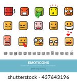 set of emoticons. square with...