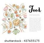 family friends christmas dinner ... | Shutterstock .eps vector #437655175
