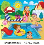 children by pool theme image 2  ... | Shutterstock .eps vector #437677036